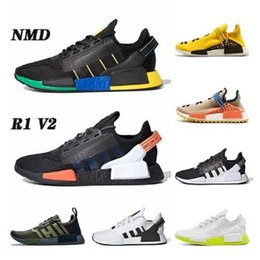 Wholesale Wholesale 2020 Top Sport Tennis Shoes Pharell Williams Human Races NMD R1 V2 Running Shoes Core Black For Mens Women Trainers Sneakers 36-47