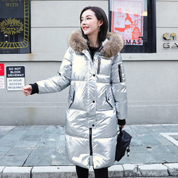 pink shiny jacket UK - Winter Solid X-long Down Jacket Women Hooded Glossy Plus Size Women's Long Puffer Coat Shiny Thick Fur Collar Casual Outwear 201103
