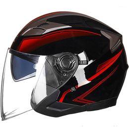 Wholesale GXT Motorcycle Helmet Open Face Dual Lens Visors Casco Moto Electric Bicycle Helmet Men Women Scooter Motorbike Black1