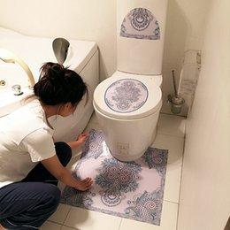 Vente en gros Autocollants de toilette couvrent la décoration étanche antidérapante Tapis de salle de bains étanche tapis de salle de bain toilette stickers côté stickers marin gwb4763