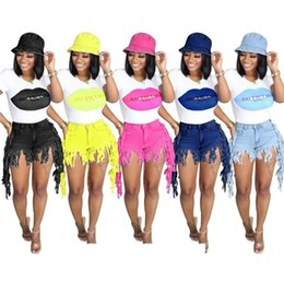 women sexy top jeans 2021 - Fashion Women Clothes top Short Tassel Jeans Set Summer Fringed jeans lips print T-shirt two-piece Denim Shorts Fashion Shorts Pants H12803