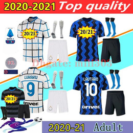 Wholesale 20 21 LUKAKU ERIKSEN LAUTARO home soccer jersey kits 2020 2021 adult kit ALEXIS SENSI SKRINIAR BROZOVIC Milan football shirt set uniforms