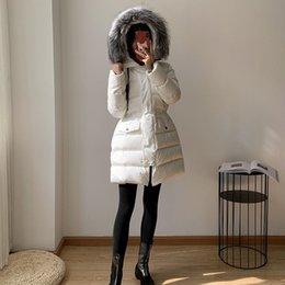 Wholesale fur feather jacket resale online - women winter jacket down jacket Fur collar Top Quality Winter Coat New Women Winter Casual Outdoor Warm Feather Outwear Thicken Lengthen