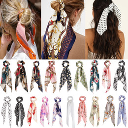 under scarfs NZ - Bohemian Floral Spot Long Scrunchies Hair Ribbon Elastic Bands Hair Accessories Ponytail Hair Scarf For Women