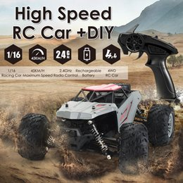 Remote Control Car Rechargeable DIY 4WD 1 16 Racing Car Truck Off-road Vehicle Electric Toy with 45KM H Speed 20+Min Play