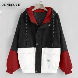 Wholesale color block coat resale online – JuneLove Long Sleeve Corduroy Women jacket Spring women Jacket plus size Zipper female coat color block Patchwork Outwears