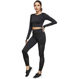 see through yoga pants UK - 2 Piece Wear Women Gym Sets No See Through Yoga Leggings with Stretch Sports Bra Fitness Clothing Running Tracksuit Pants