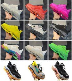 bubble wedding dresses UK - 2020 Designer Triple S Shoes Clear Bubble Midsole Men Women Green Black White Casual