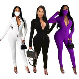 Wholesale womens rompers resale online – Solid Color Zipper Womens Jumpsuits Stand Neck Long Sleeve Colors Option Women Rompers Casual Slim Clothing