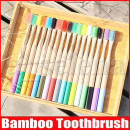 Rainbow Bamboo Toothbrush 17 Colors Round Bamboo Handle Black Bristle Adult Tandenborstel Wooden Handle Low carbon Toothbrush on Sale