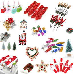 Discount christmas tree wreath Hot Sale Christmas Wreaths Sticker Lollipop Cover Tops Pendants Miniature Xmas Tree Hanging Ornament Home Decoraitons