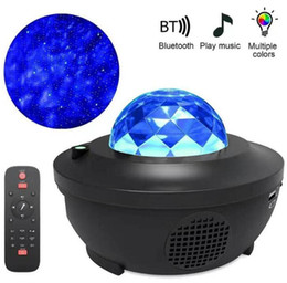 venda por atacado Novo Colorido Galáxia Starry Sky Projetor LED Night Light Bluetooth Voz Controle de voz Music Player Speaker Star Projeção Lâmpada Aniversário