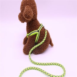 chest collar for dogs UK - Pet Dog Leash Night Safety Reflective Traction Rope Dog Chest Strap Leash Set for Pet Dog 1.2 m (S ) DHE3306
