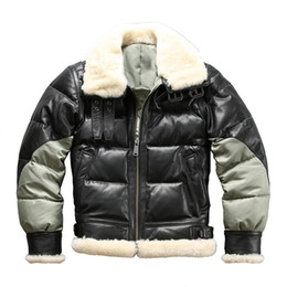 Wholesale mens sheepskin jackets resale online - Ab3 Read Description Asian size super warm mens genuine goat leather down jacket very warm sheep skin winter leather jacket