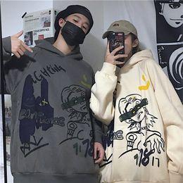 Wholesale korean sleeveless hoodie resale online - Korean new Harajuku style hoodie with plush thickening and loose medium and long length lovers long sleeve women Hoodie sweater sweate