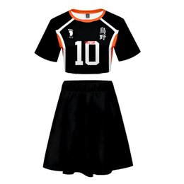female anime cosplay costumes Canada - Anime Haikyuu Hinata Shoyo Kageyama Tobio Cosplay Costume Karasuno High School Sexy 2 Piece Set Women Skirt and Top Outfits