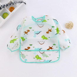 baby pocket bibs 2020 - Art Cartoon 1 6y Cloths Toddler Cute Smock Burp Waterproof Kids Baby Feeding Pocket Bib Sleeve Dinosaur Apron Long mwtqD