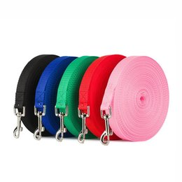 Discount dog walking belts New Pet Dog Leash Nylon Leash For Dogs 5 Colors 1.5M 1.8M 3M 6M Walking Training Cats Dogs Harness Collar Strap Belt
