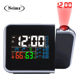 desk calendar thermometers UK - Gift Idea Colorful LED Digital Projection Alarm Clock Temperature Thermometer Humidity Hygrometer Desk Time Projector Calendar 201222