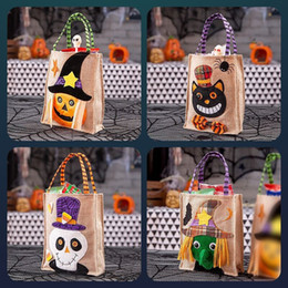 Discount decorations for handbags Halloween Candy Handbag Large Capacity Sack Decorations Canvas Handmade Tote Trick or Treat Bag For Children