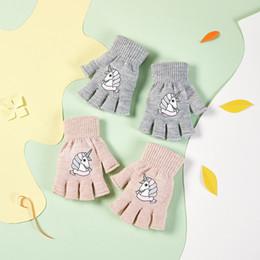 Luvas INS Boy Girl Unicórnio Inverno Quente Luvas Mittens Unisex Desenhos animados que esticam Luvas Moda Kid Tricô bebê de Student em Promoção