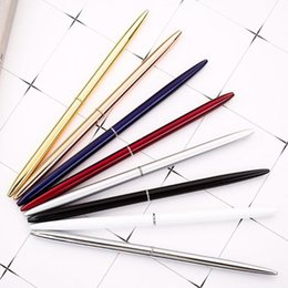 Wholesale custom writings resale online - 8PCS Creative Slim Metal Ballpoint Pen Custom logo Ball Pen For Business Writing Gifts Office School Supplies Stationery