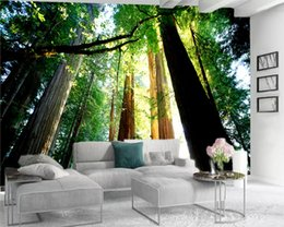 Discount trees 3d wall mural 3d Wallpaper Wall Promotion 3d Modern Wallpaper Dense Towering Trees Romantic Scenery Decorative Silk 3d Mural Wallpaper