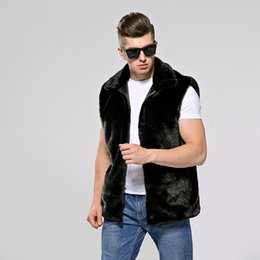 Wholesale casaco cashmere masculino resale online - AYUNSUE Faux Fur Vest Men Plus Size Sleeveless Jacket Mens Clothing Hooded Vests for Men Coat Jackets Casaco Masculino KJ319