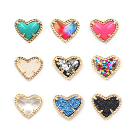 Fashion KS Hot Items Simple Heart druzy stone Heart Stud Earrings For Ladies