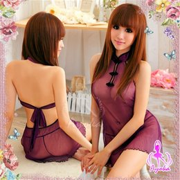 Wholesale qipao skirt resale online - Sexy Underwear Chinese Classic Transparent Qipao Women s Sexy Perspective Skirt Suit