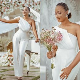 Wholesale shot prom dresses for sale - Group buy Elegant One Shoulder Prom Dresses Plus Size Satin Ruched Jumpsuits Custom Made Pant Suit Wpmen Photo Shoot Dress