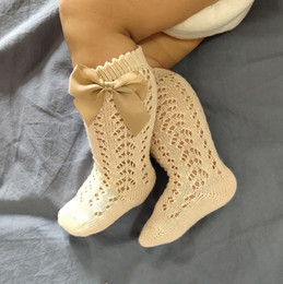 Os mais recentes 5 Estilos Kid Meias oco Out With Bow Knee High Lace Sock LJJP693 Tubo Infant Baby Girl Toddlers bonito