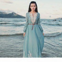 Wholesale medieval renaissance gown dress costume for sale – halloween Free ship light blue lace embroidery full sleeve long medieval dress Renaissance Gown princess costume Victorian dress seashore