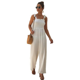2020 Summer Women's Casual Sumpsuits Street Beach Style Vintage Sin mangas Sólido Regular Soliduras para Mujeres Monos