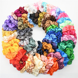 Wholesale Multicolor Women Silk Scrunchie Elastic Handmade Hair Band Ponytail Holder Headband Accessories top quality