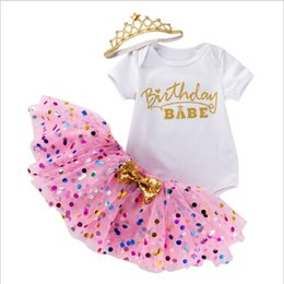 birthday tutu sets Australia - New Baby Girl Set 3pcs Letter Print Romper Top Dotted Tutu Skirt and Crown Headband Clothes Outfit for First Birthday