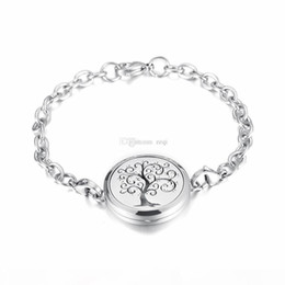 lotus flower bracelets Australia - IJP2001 Stainless Steel Tree of life and lotus flower Magnet Essential Oil Aroma Diffuser Perfume Locket link Bracelet Gift For Friends