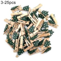 Discount wooden clips diy 25pcs Wooden Note Photoes Clips Snowflake Elk Peg Clothespin Diy Party Supplies Christmas Decorations For Home Wedding B