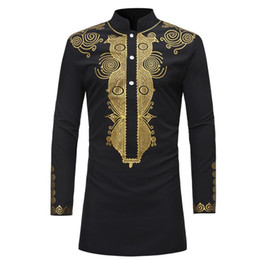 Wholesale New 2020 Dashiki Fashion African Traditional Printed Rich Bazin Men Long Sleeve Africa Clothing Thobe Dress for Man Shirt