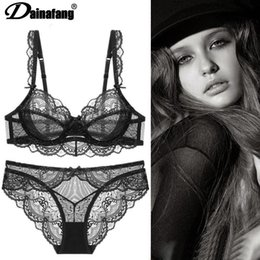 Wholesale sexy womens lingerie resale online - Dainafang Sexy Bras Set Ultra thin Transparent Flower High Quality Underwear Sets piece Suit for Young Womens Lingerie