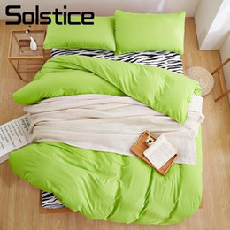 zebra print bedding sets Australia - Solstice Home Textile Twin Full Queen King Bedding Sets Green Solid Color Duvet Cover Pillowcase Zebra Flat Sheet Girl Bed Linen