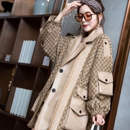 Wholesale new trench coat women european style resale online - Plum size women s trench coat European station Early autumn new fat MM fashionable patchwork leather elastic waist women s coat