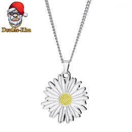 necklaces best friend forever UK - Forever Best Friends Daisy flower Pendant Necklace Hiphop Street Culture Titanium Stainless Steel Chain Fashion Man Jewelry1