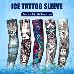 Wholesale Chinese Tatto Unisex Men and Women ArmGuard UV Protective Ice Silk Long Arm Sleeves for Outdoor Running Biking Hiking Fishing