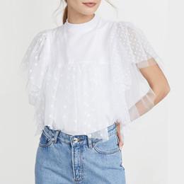 Wholesale women's tunic tops for sale – plus size Women Blouse Vintage Lace Patchwork Tunic VONDA Women s Short Sleeve O Neck Mesh Blouse Female Casual Tops Plus Size