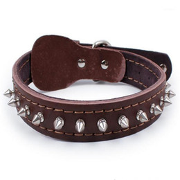 leather dog collar rivet 2021 - Spiked Dog Collar 100% Genuine Adjustable Cow Leather Pet Neck Strap Rivet Studded Small Medium Large Chain Collar For P