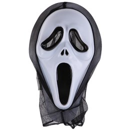 scream mask wholesale UK - Halloween Ghost Face Horror Screaming Grimace Mask for Adult Scary Cosplay Prop Carnival Masker Fancy Party Decor
