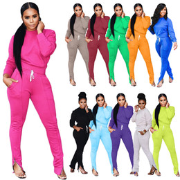 Wholesale woman outfits for sale – designer Autumn And Winter Women Tracksuit Clothing Fall Fashion Casual Sports Foot Zipper Set Casual Two Piece Outfits
