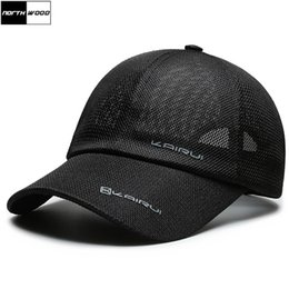 blue trucker cap Canada - [NORTHWOOD] High Quality Men's Summer Cap Breathable Women Mesh Caps Gorras Snapback Hat Trucker Cap For Adult 201019