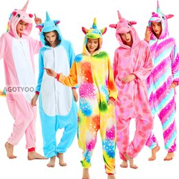 Wholesale cosplay pyjama panda online – ideas Adult Cute Unicorn Pajamas Women Sleepwear All in One Pyjamas Animal Suits Cosplay Stitch Tiger Panda Garments Pijamas